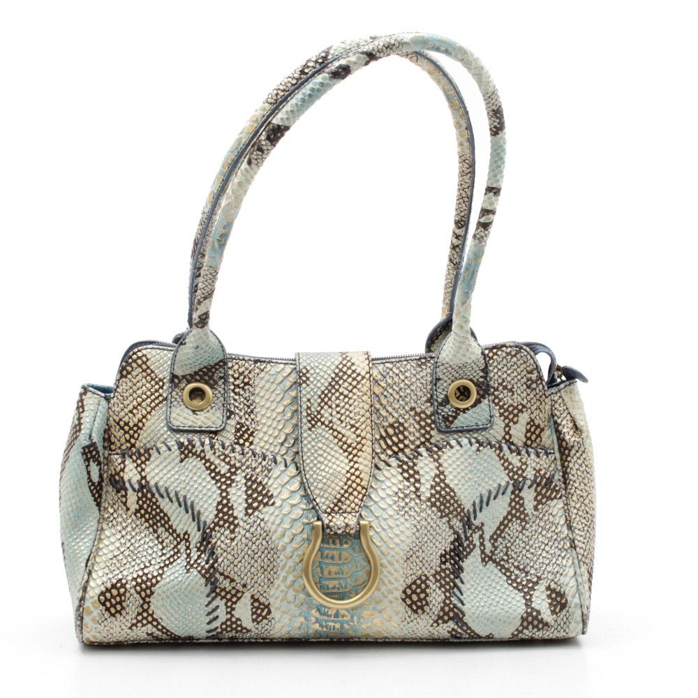 Charlie Lapson Snakeskin Print Handbag