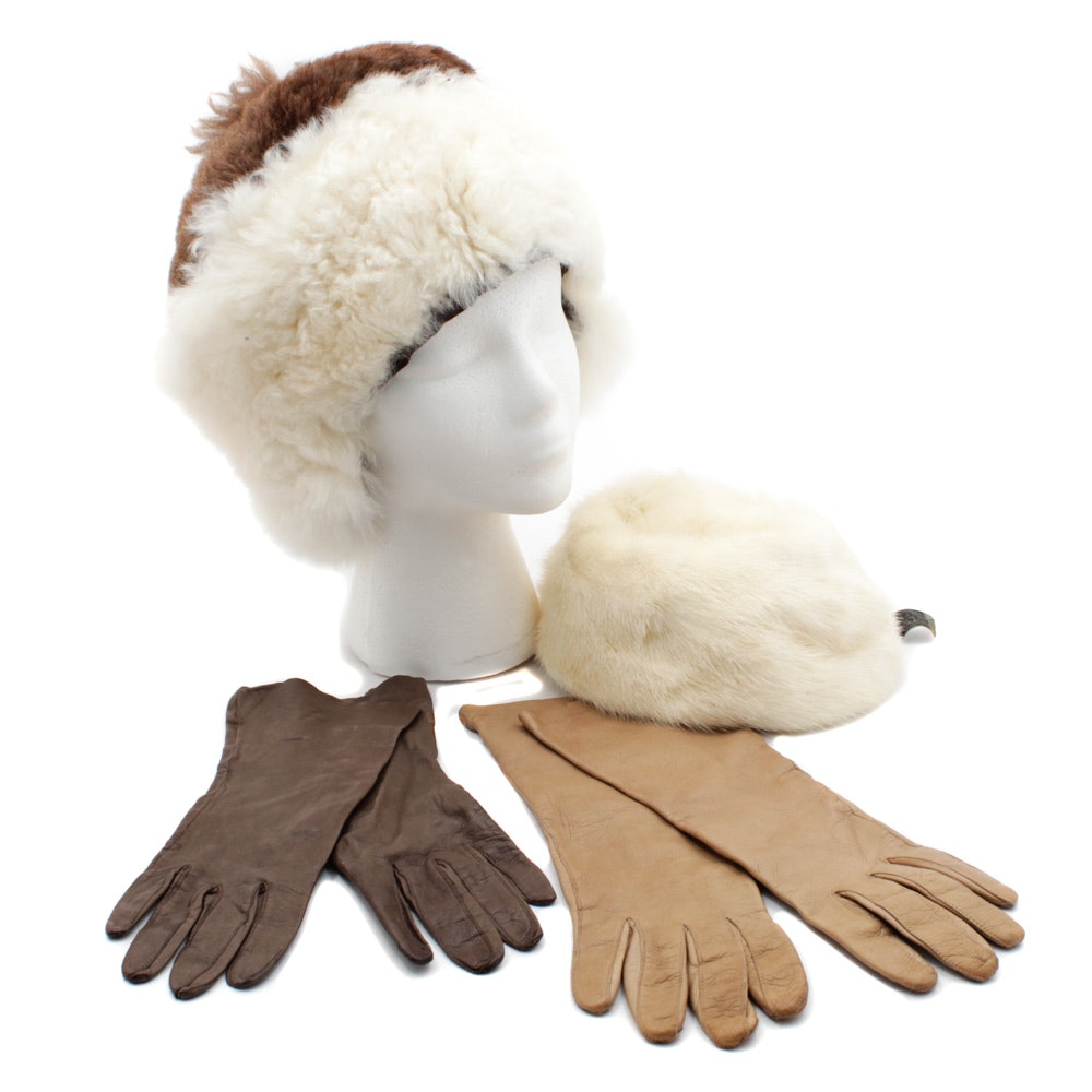 Vintage Soft Leather Gloves with Alpaca and Mink Fur Hats