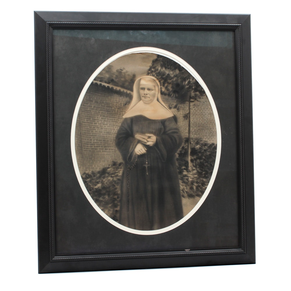 Early 20th Century Charcoal Drawing of Nun