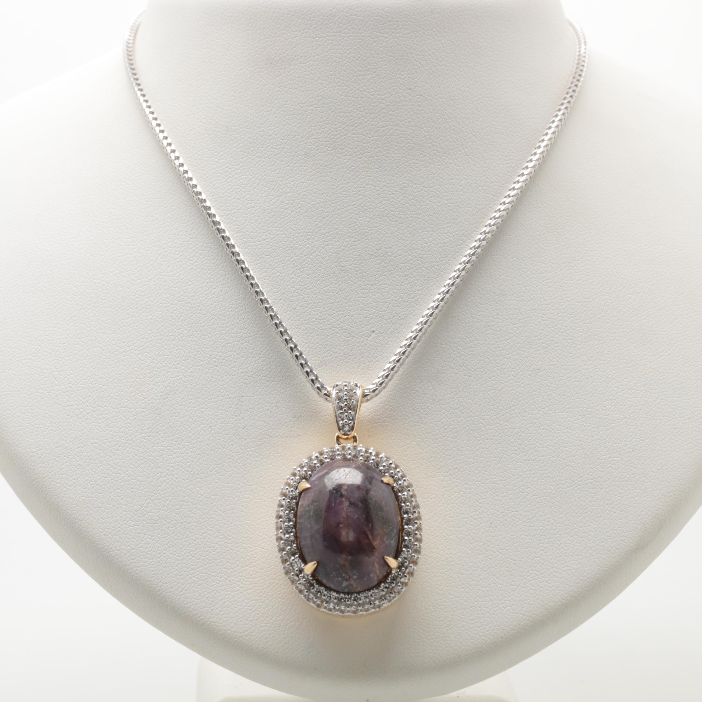 Sterling Sliver Star Corundum and White Sapphire Necklace
