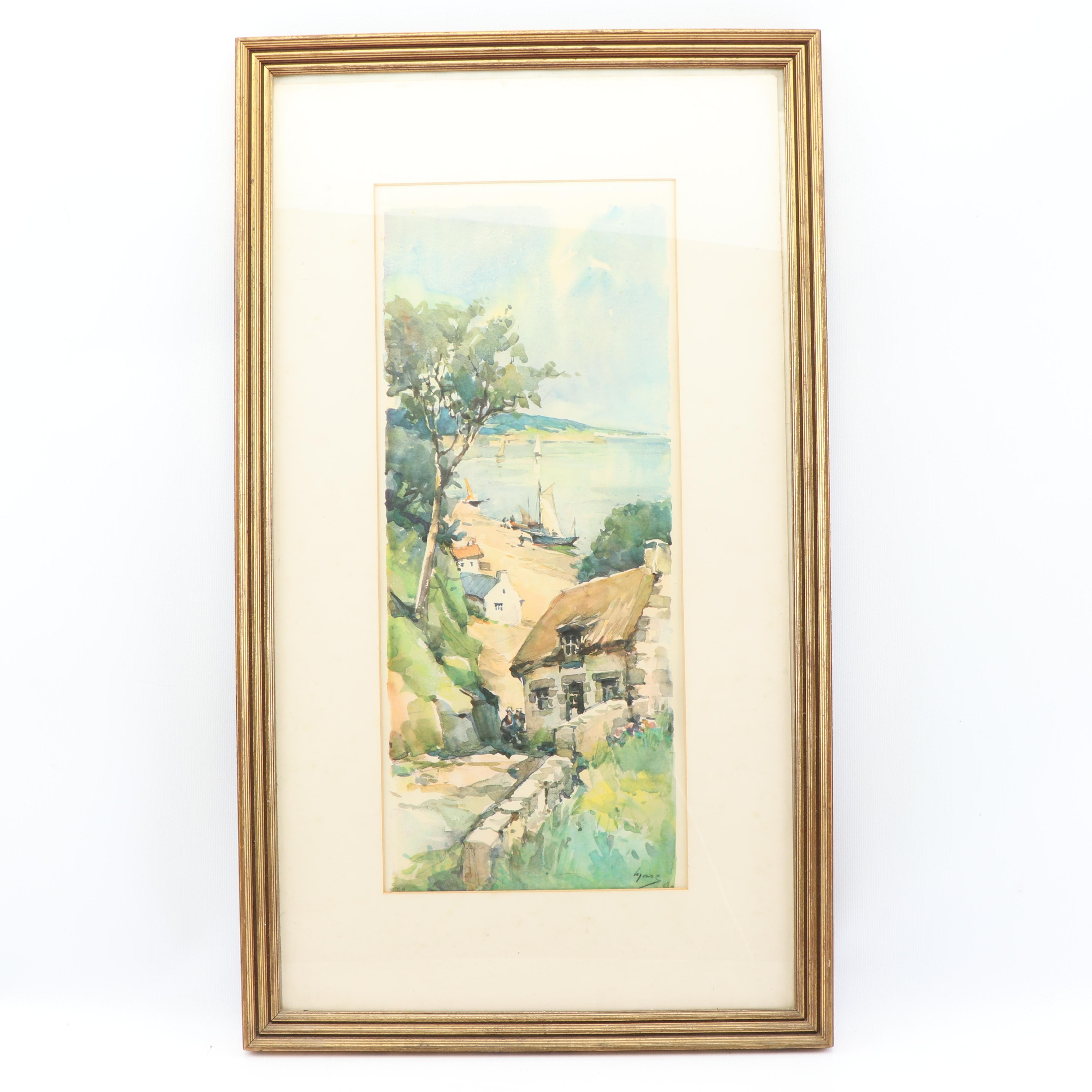 Offset Lithograph Landscape with Cabin
