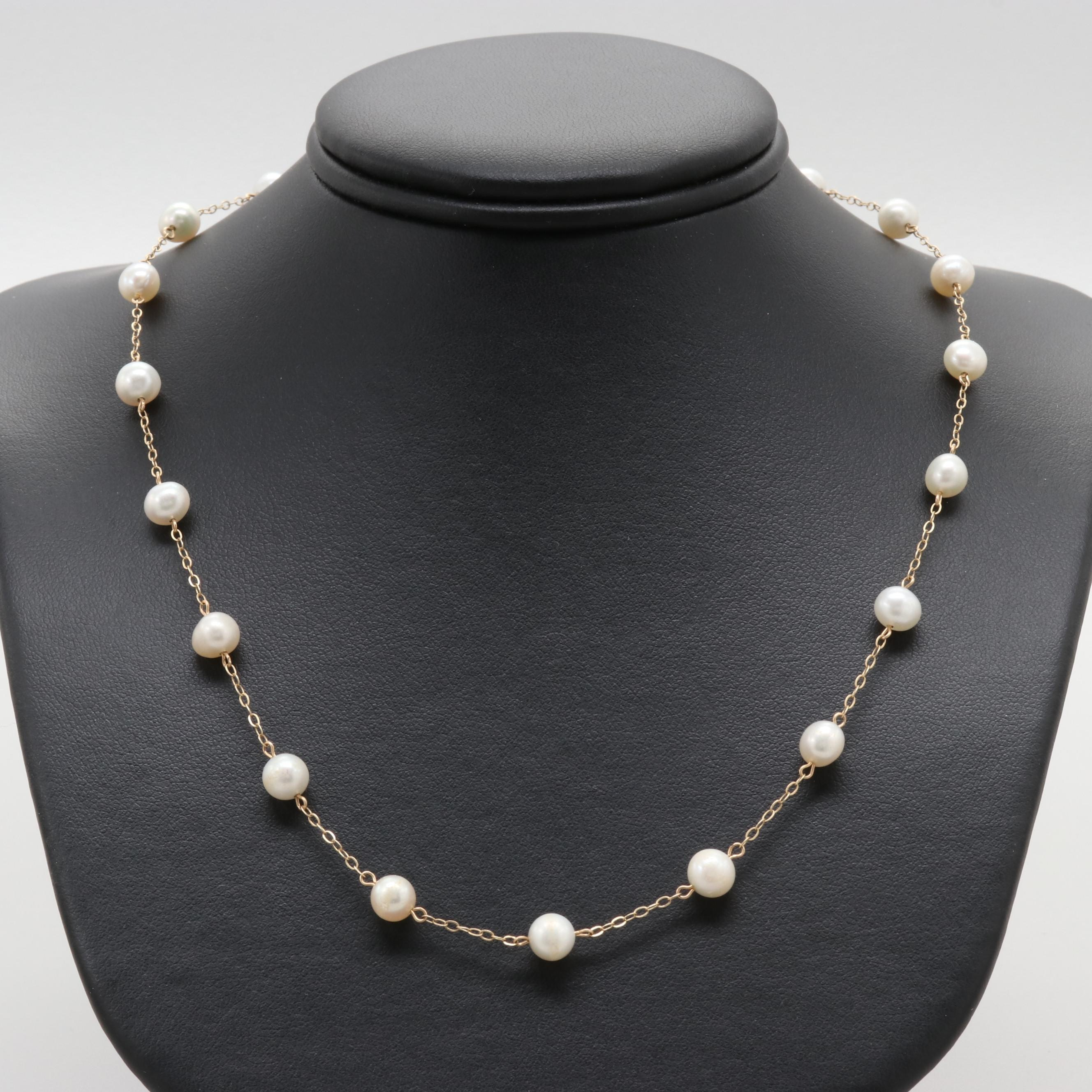Peter Brams 14K Yellow Gold Cultured Pearl Necklace