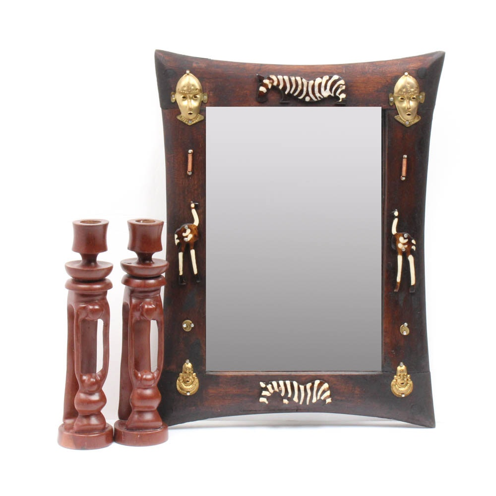 Hand Carved African Candlesticks and Wall Mirror