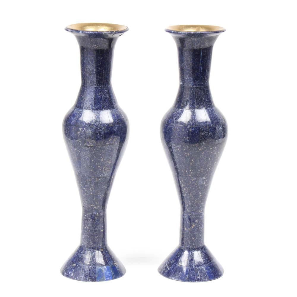 Kenyan Crafted Dyed Lapis Lazuli over Brass Vase Pair