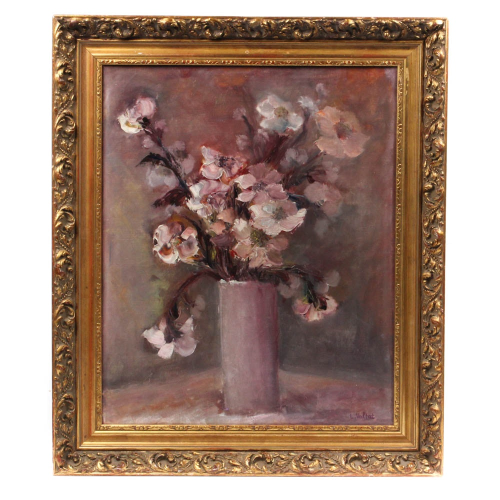 Floral Still Life Oil Painting In the Manner of Louis Valtat, 20th Century