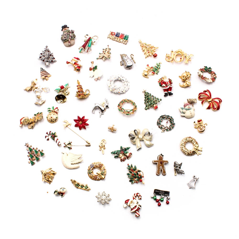Fifty Christmas Motif Brooches and Pins