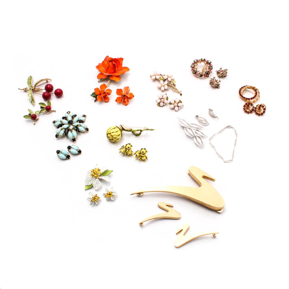 Ten Sets of Costume Jewelry Brooches and Earrings
