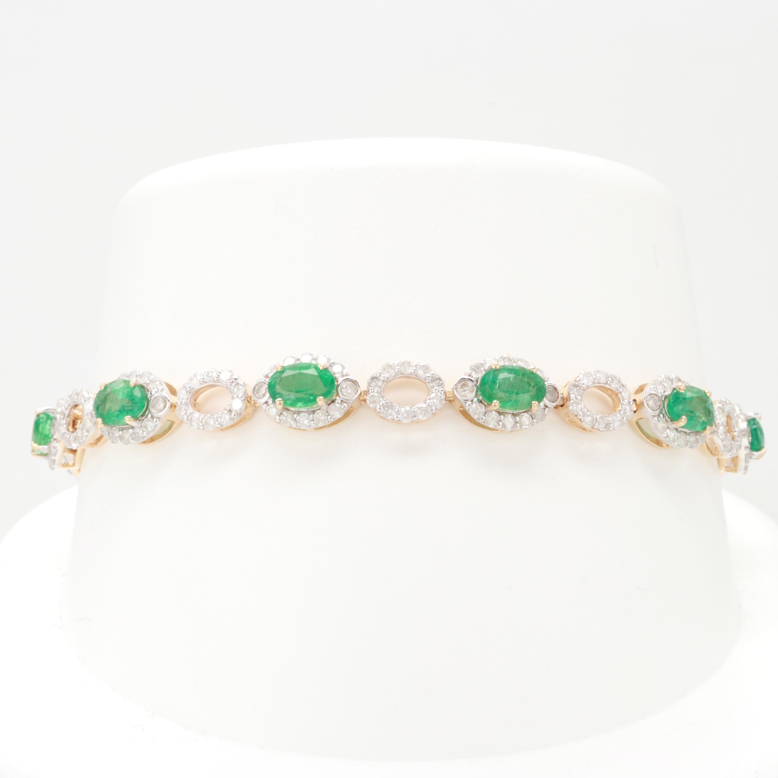 14K Yellow Gold Emerald and 3.02 CTW Diamond Bracelet