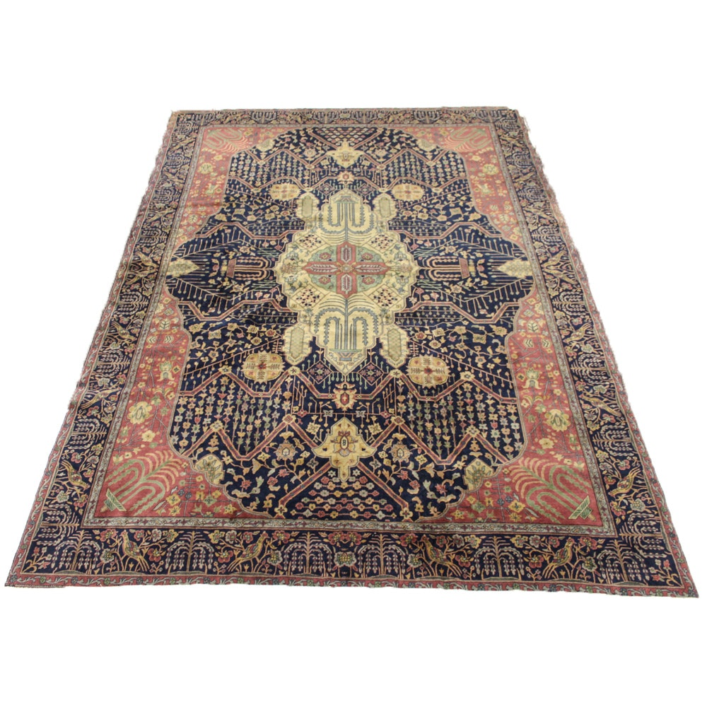 Hand-Knotted Persian Mohtasham Kashan Room Size Rug, circa 1890