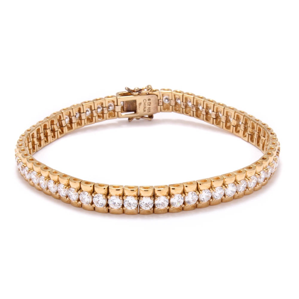 Gold Wash on Sterling Silver Cubic Zirconia Tennis Bracelet