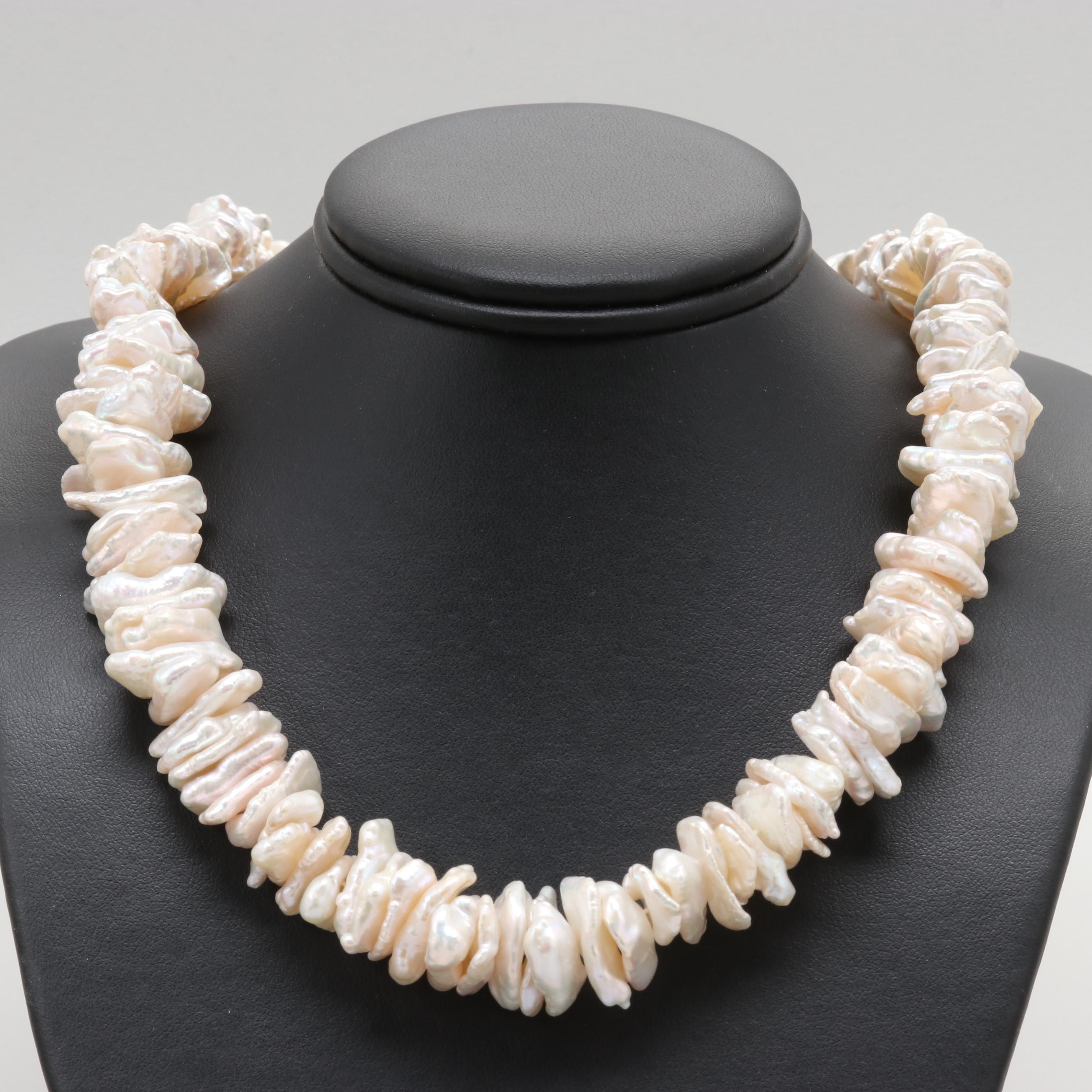 Sterling Silver Cultured Keshi Pearl Necklace