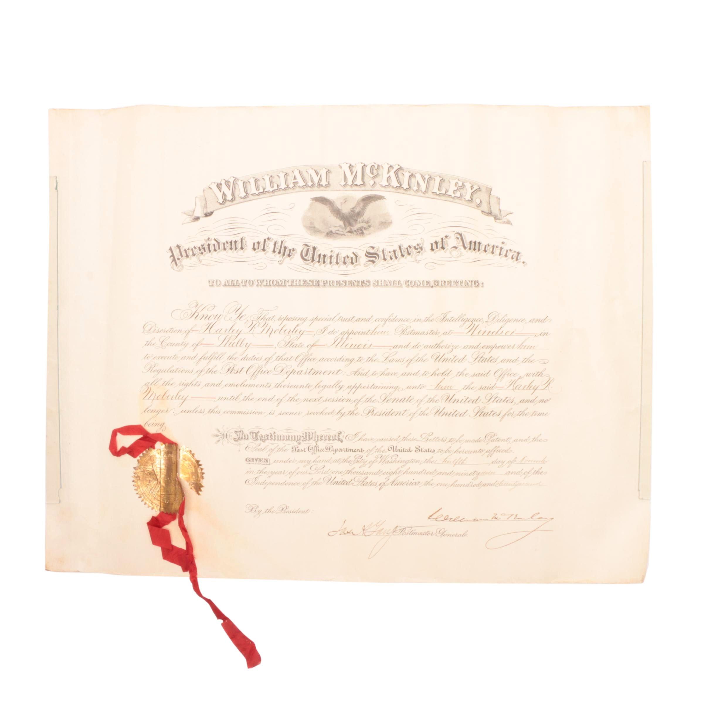 1897 President William McKinley Signed Document   Visual COA