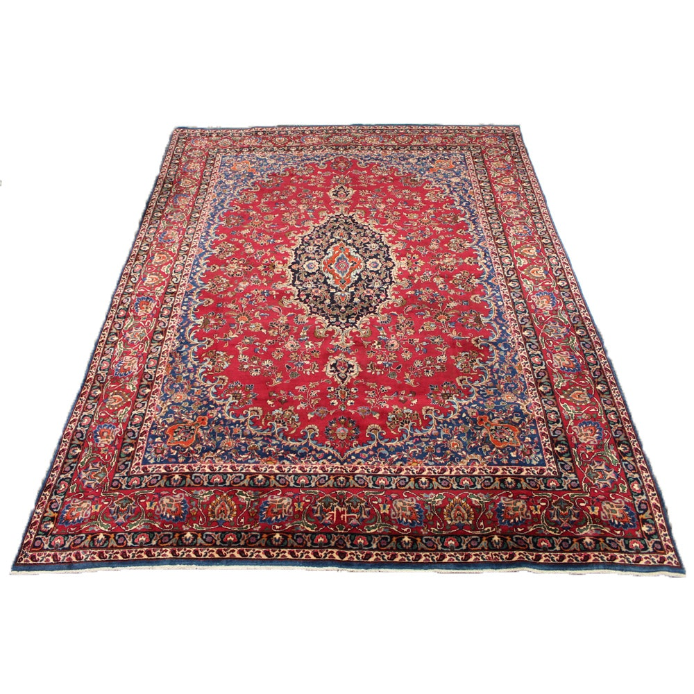 Signed Hand-Knotted Persian Mashhad Room Size Rug