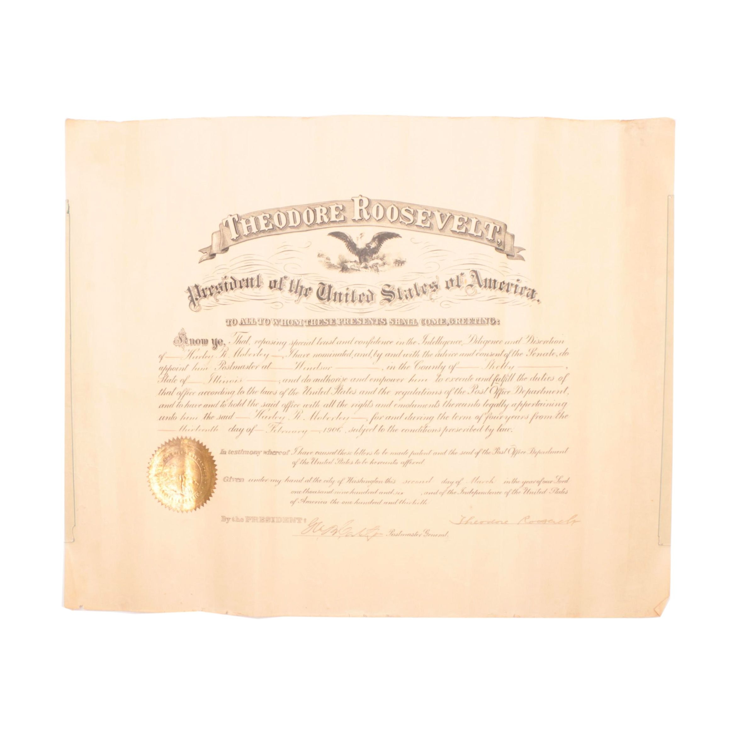 1906 Theodore Roosevelt Signed Presidential Document  Visual COA