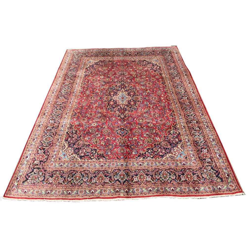 Hand-Knotted Persian Mashhad Room Size Rug