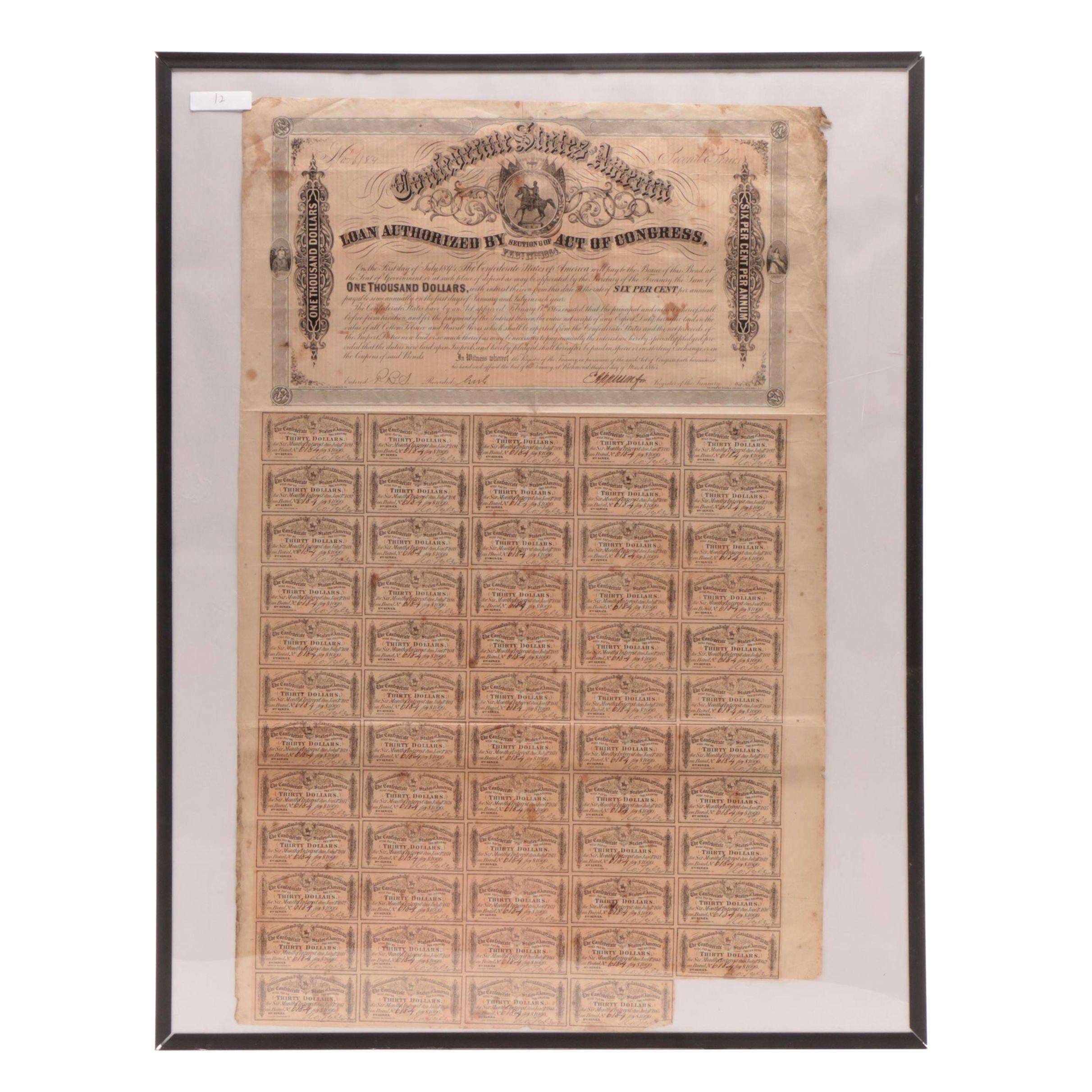 Confederate States of America Richmond, VA. Bond Dated March 1st, 1864