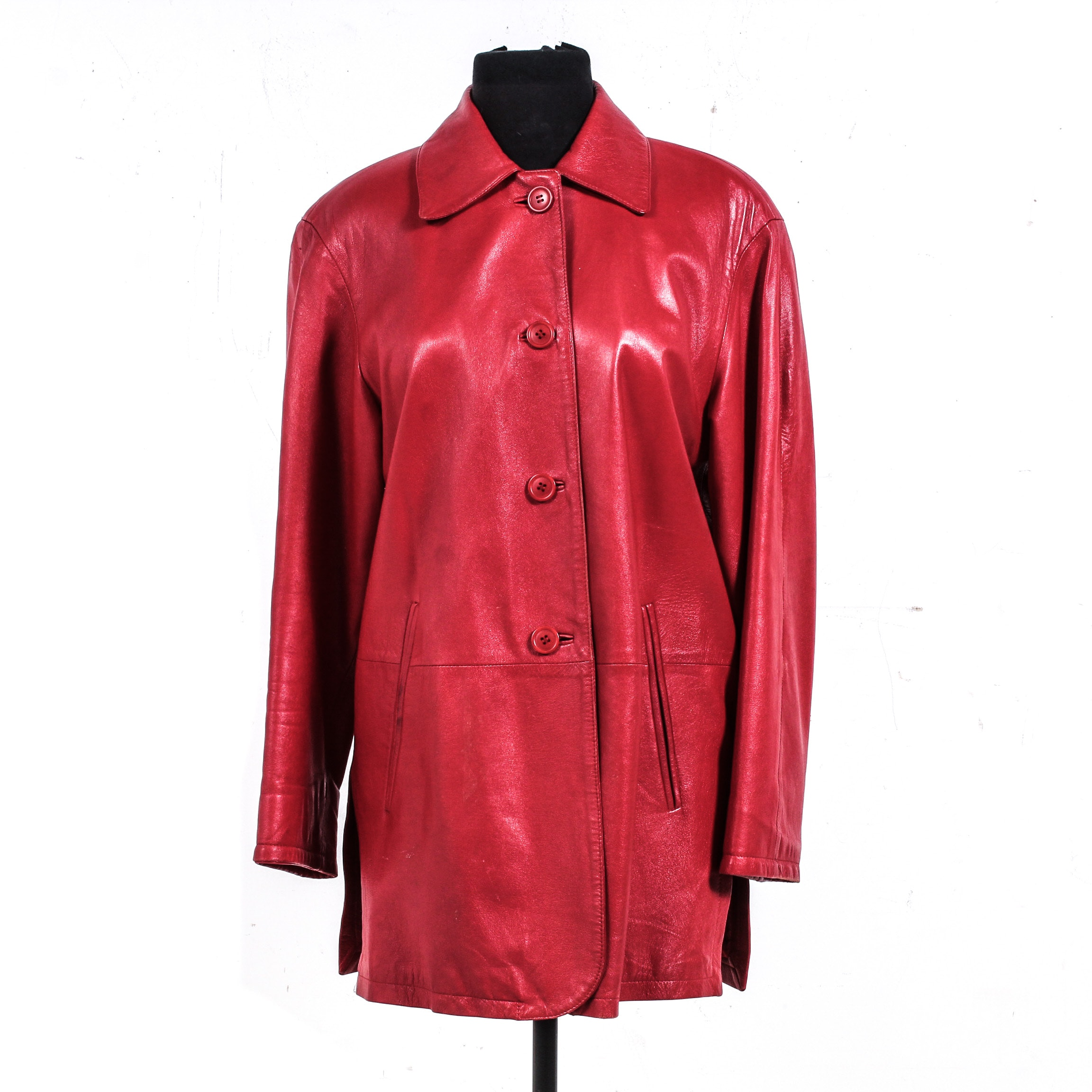Italian Vera Pelle Red Leather Jacket
