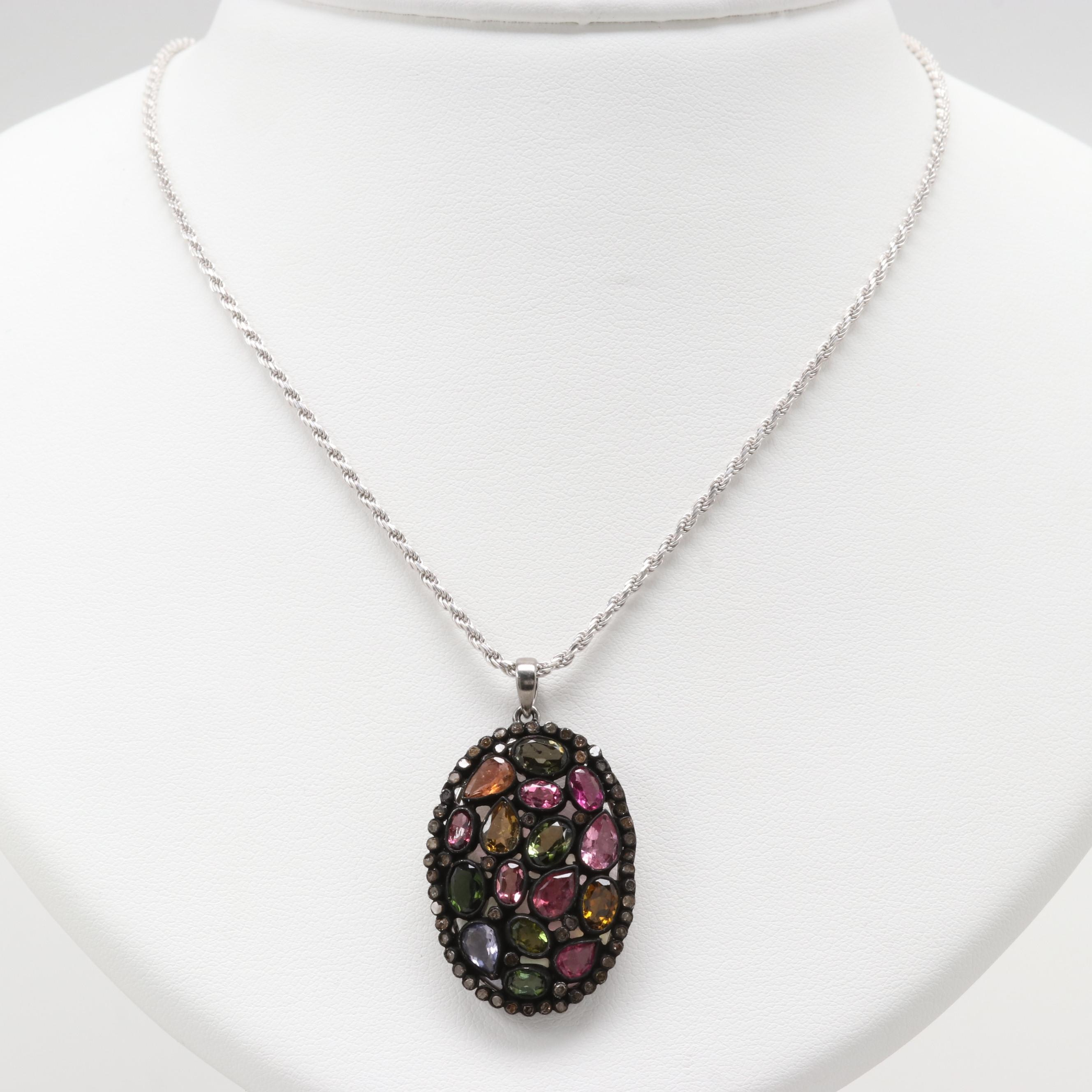 Sterling Silver Tourmaline, Iolite and Diamond Necklace