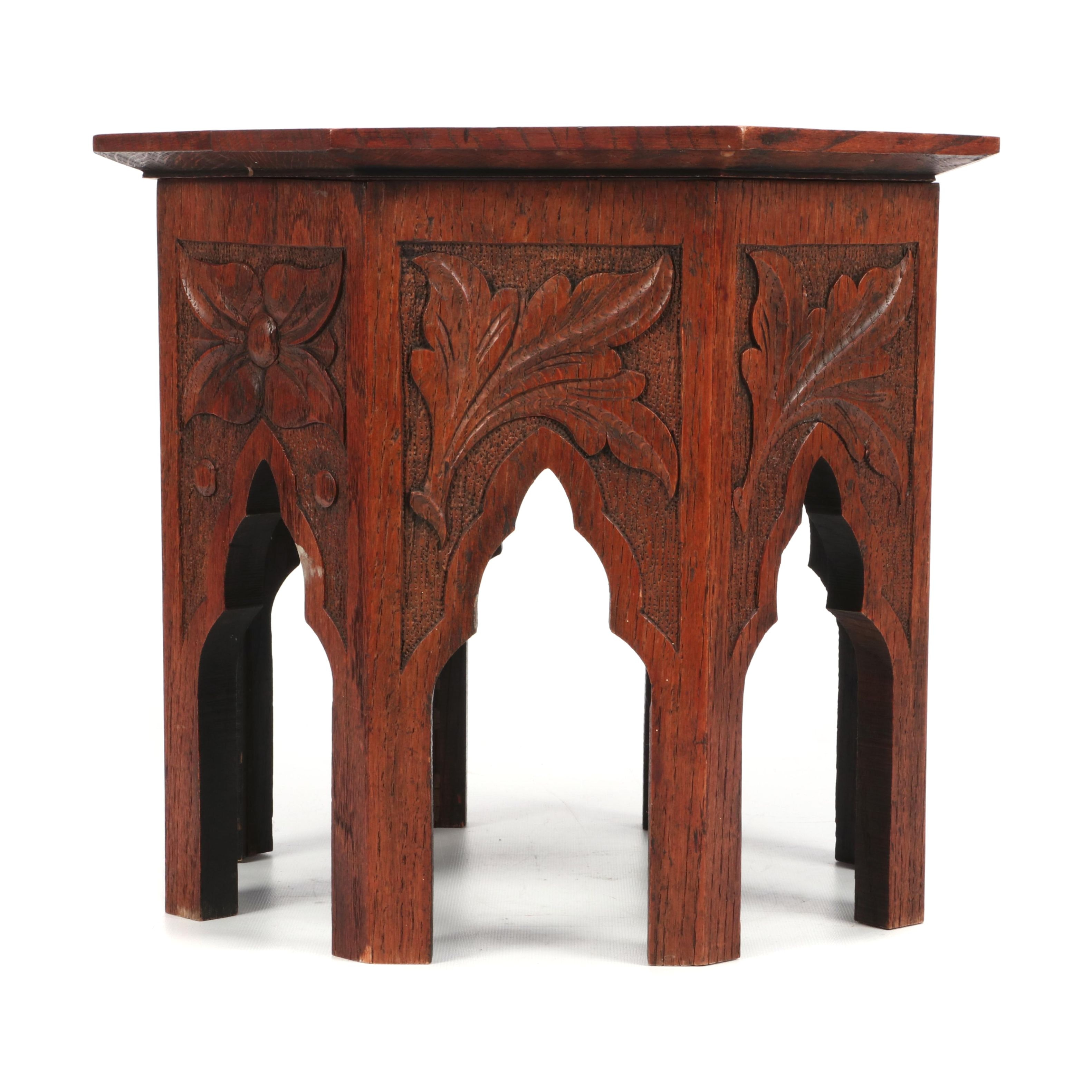 Cincinnati Art Carved Oak Low Table with Monogram, Late 19th Century