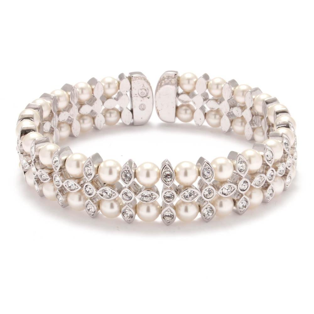 Swarovski Silver Tone Imitation Pearl and Crystal Cuff Bracelet