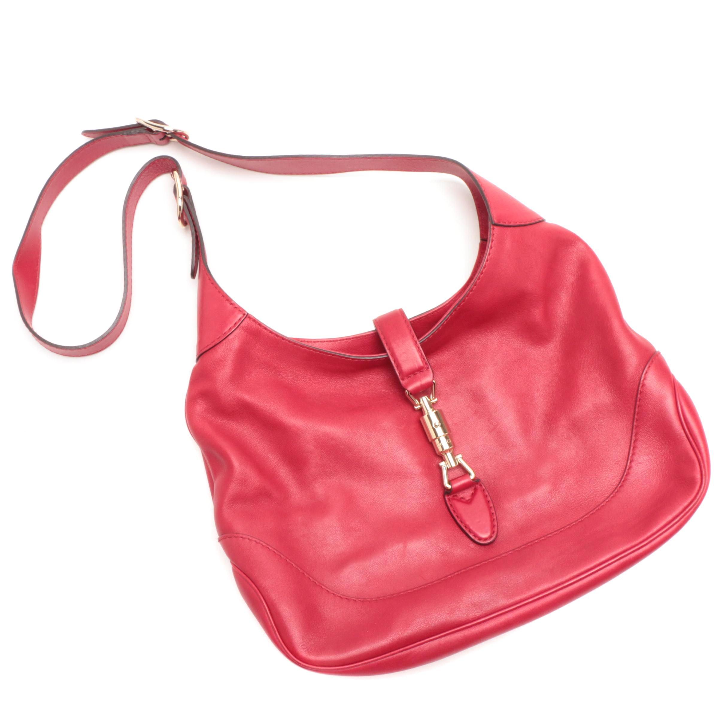 Gucci Red Leather Jackie Shoulder Bag