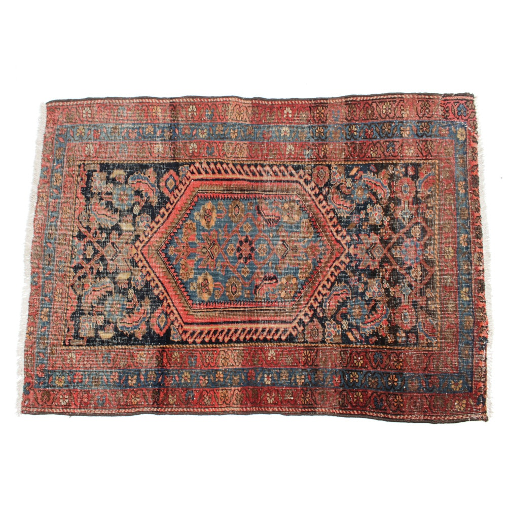 Hand-Knotted Persian Heriz Rug, circa 1900