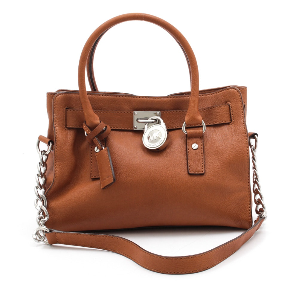 MICHAEL Michael Kors Hamilton Textured Brown Leather Satchel