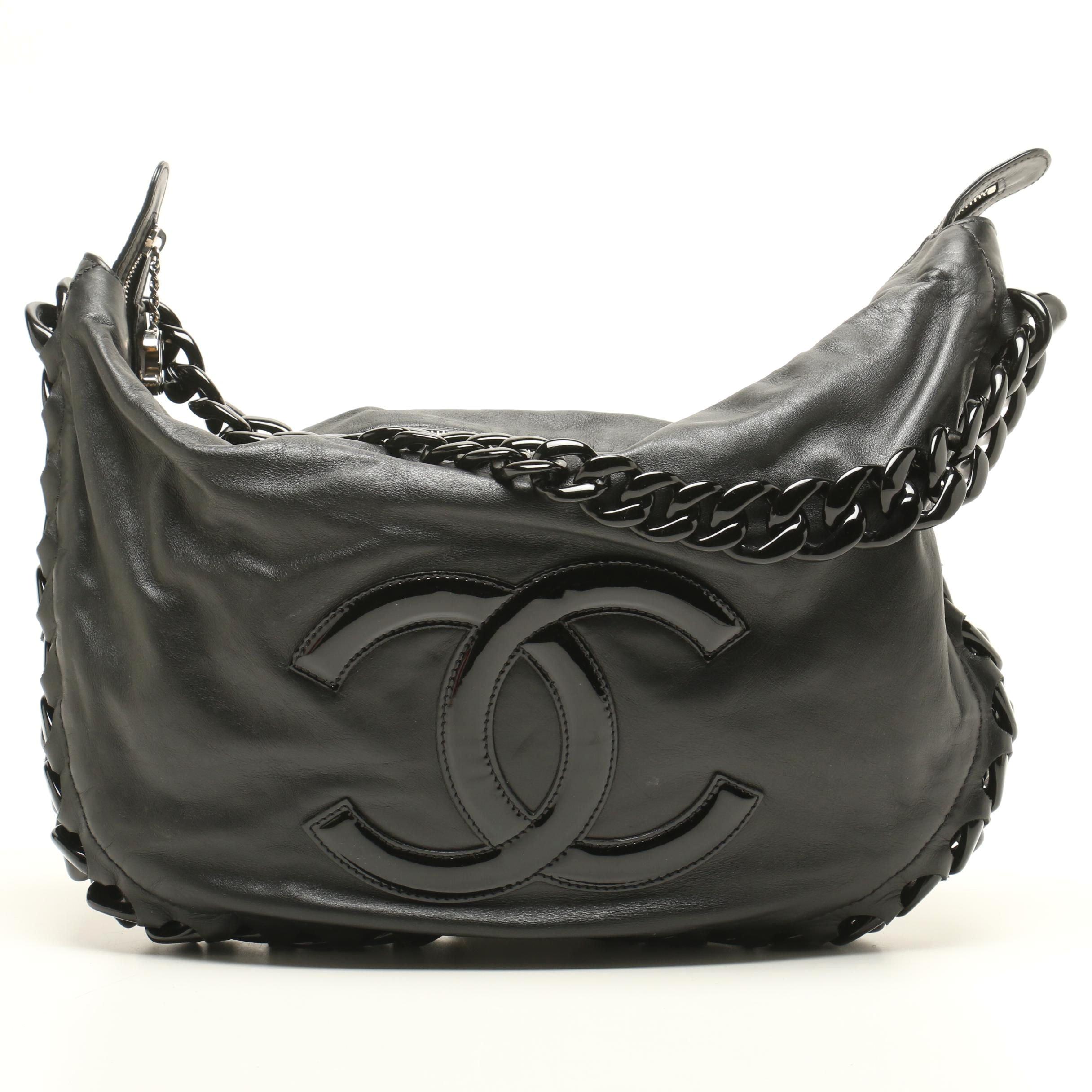 Chanel Black Calfskin Modern Chain Rhodoid Hobo