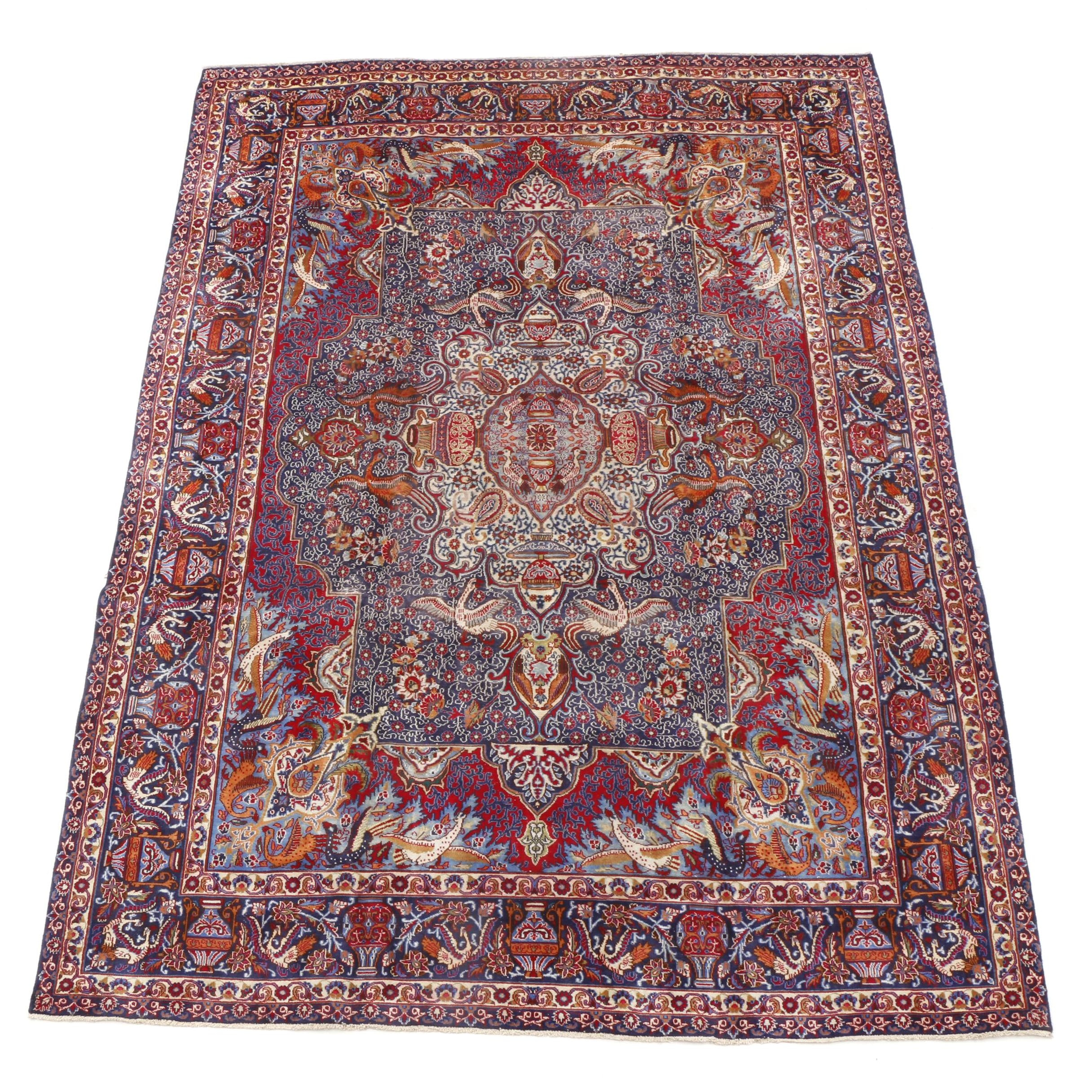 Finely Hand-Knotted Persian Archaeological Kashmar Room-Sized Rug