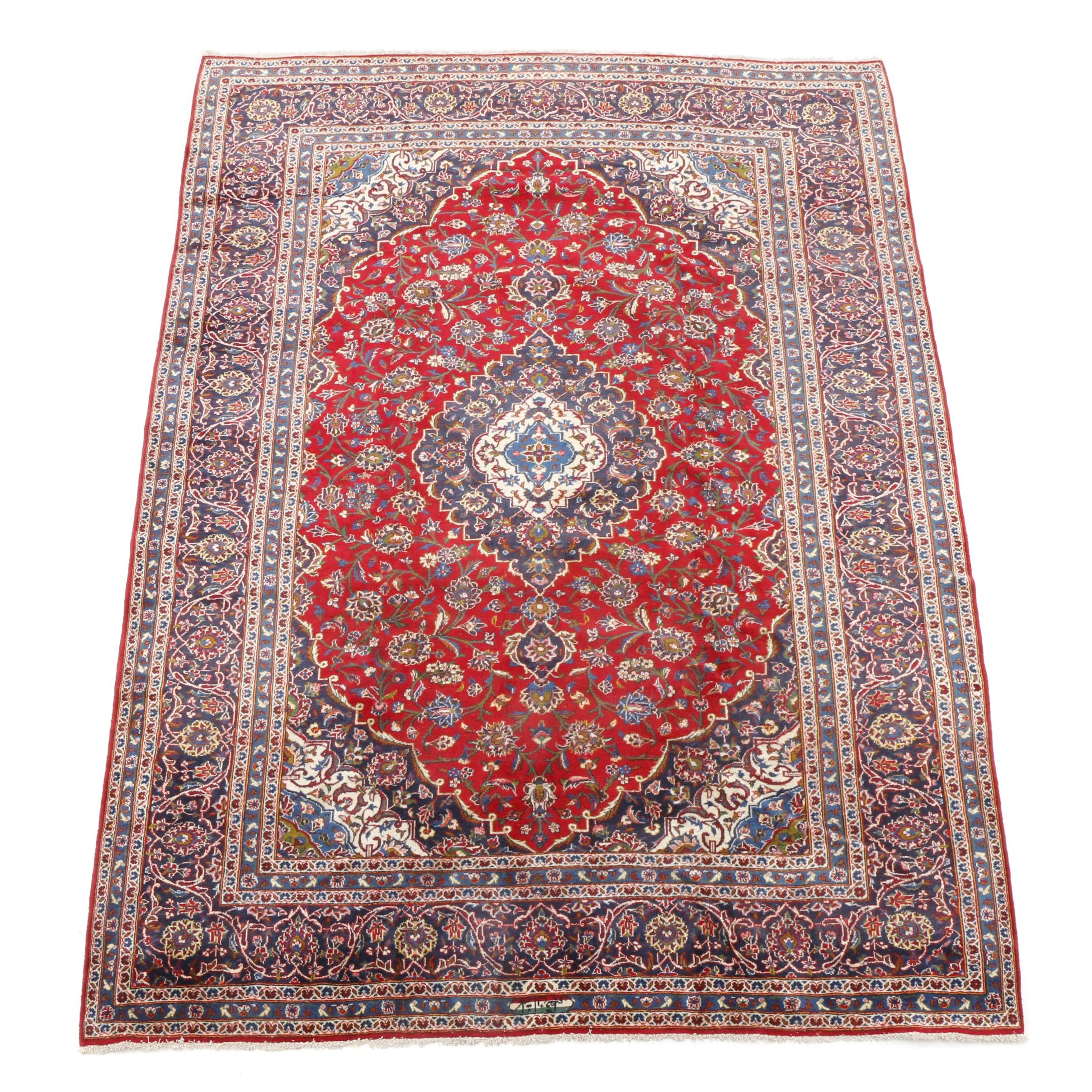 Hand-Knotted Signed Persian Kashan Room-Sized Rug