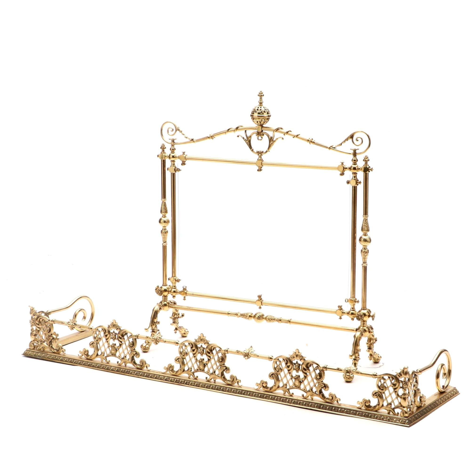 Cast Brass Rococo Style Fender and Firescreen