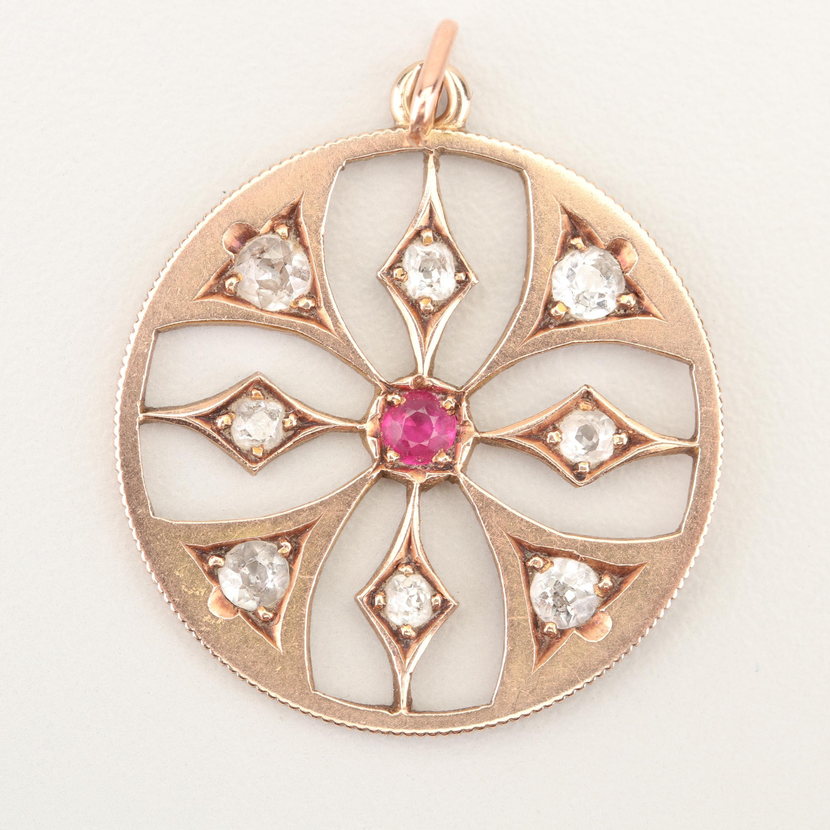 14K Yellow Gold 2.50 CTW Old European Cut Diamond and Synthetic Ruby Pendant