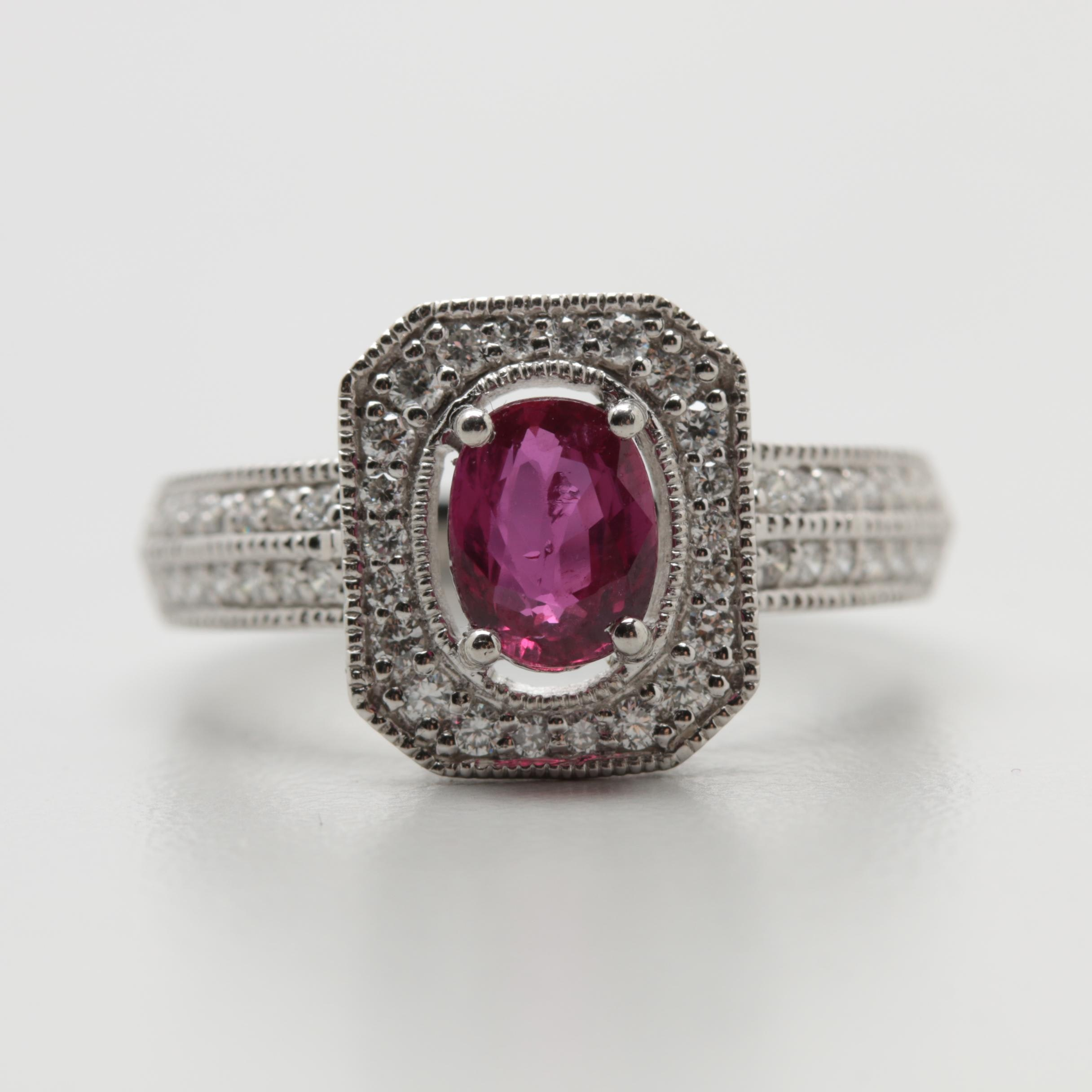 Platinum 1.02 CT Unheated Ruby and Diamond Ring with GIA Report