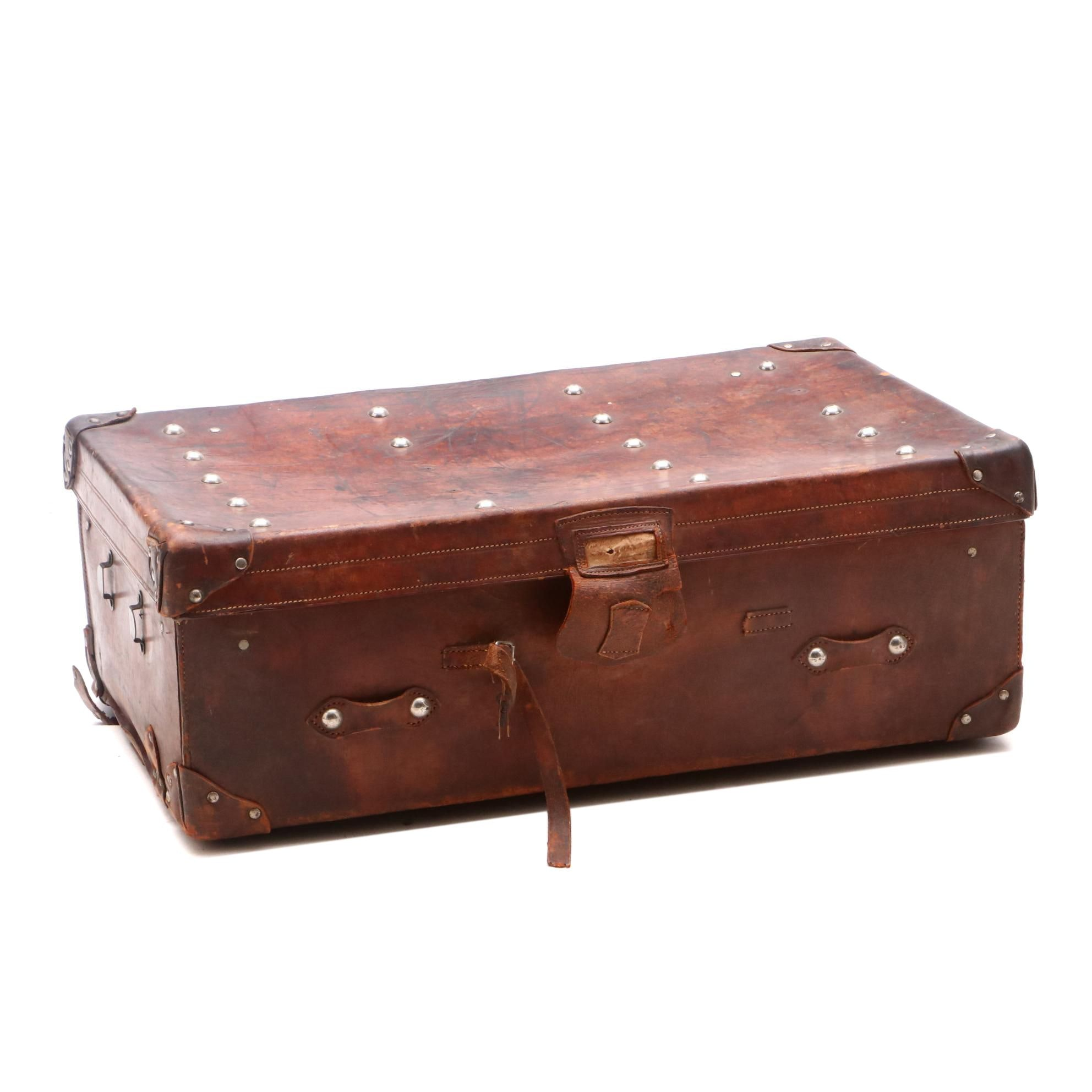 Leather Traveler's Trunk, Late 19th/Early 20th Century