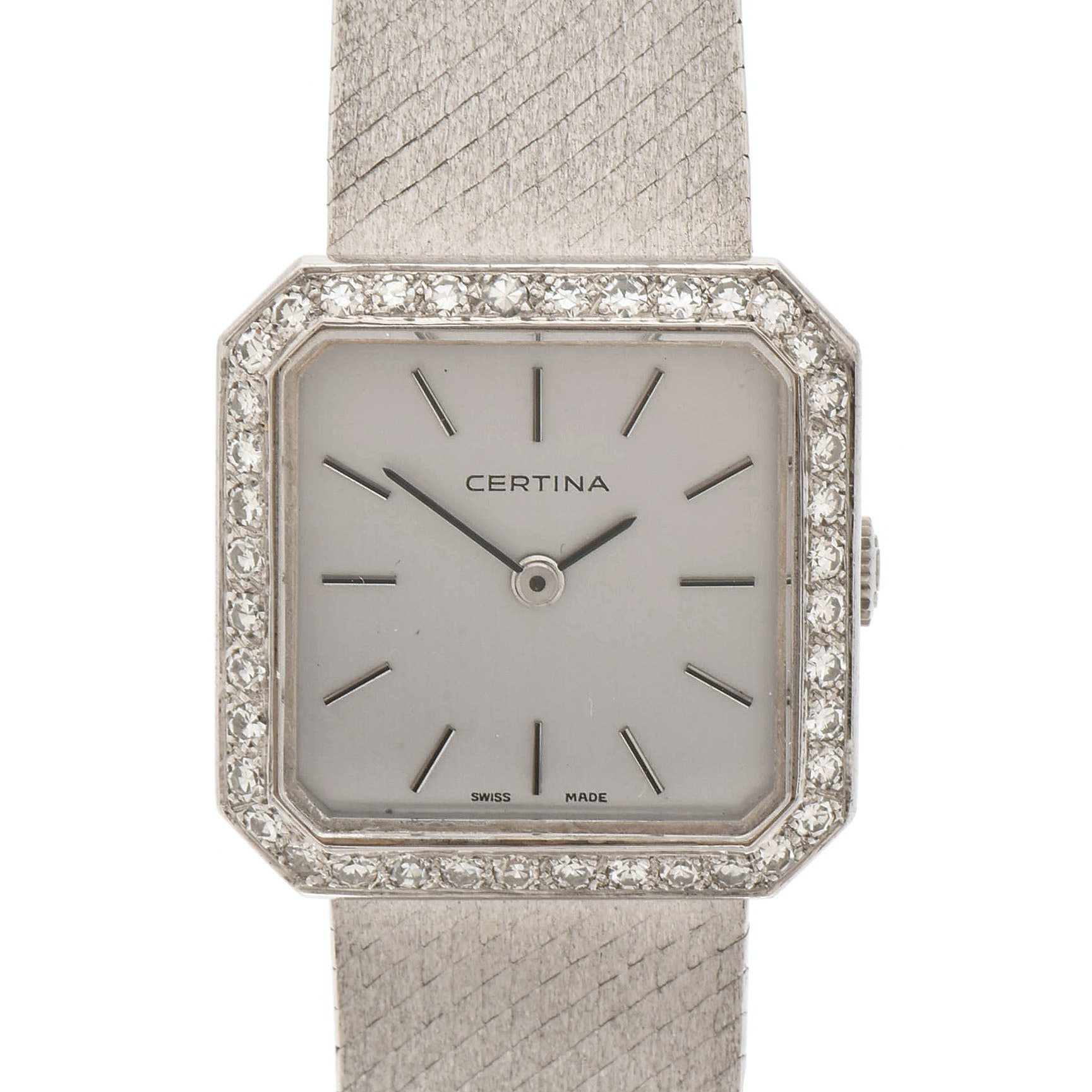Certina 18K White Gold and Diamond Bezel Wristwatch, Circa 1965