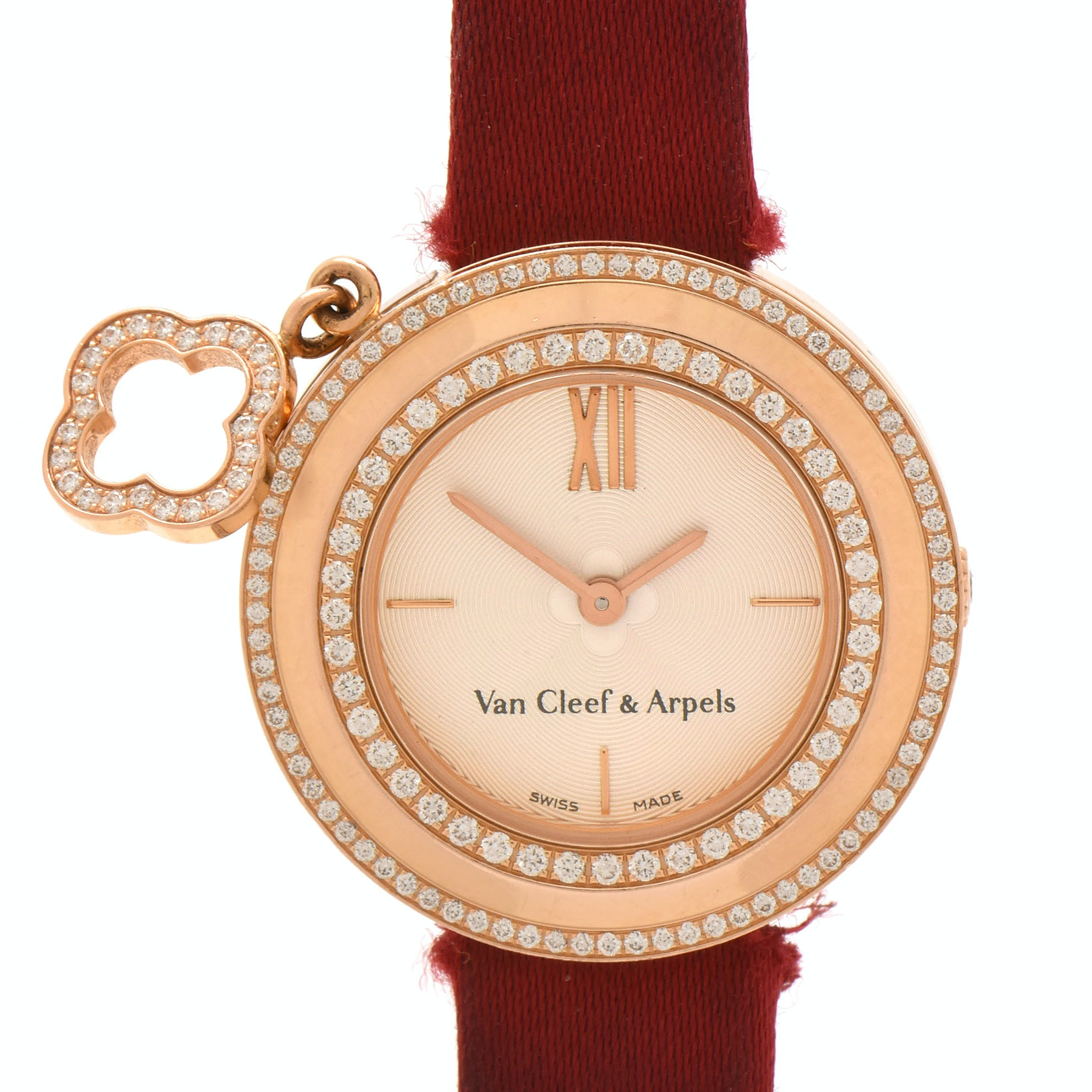 "Van Cleef & Arpels ""Charms"" 18K Rose Gold Diamond Bezel Wristwatch"