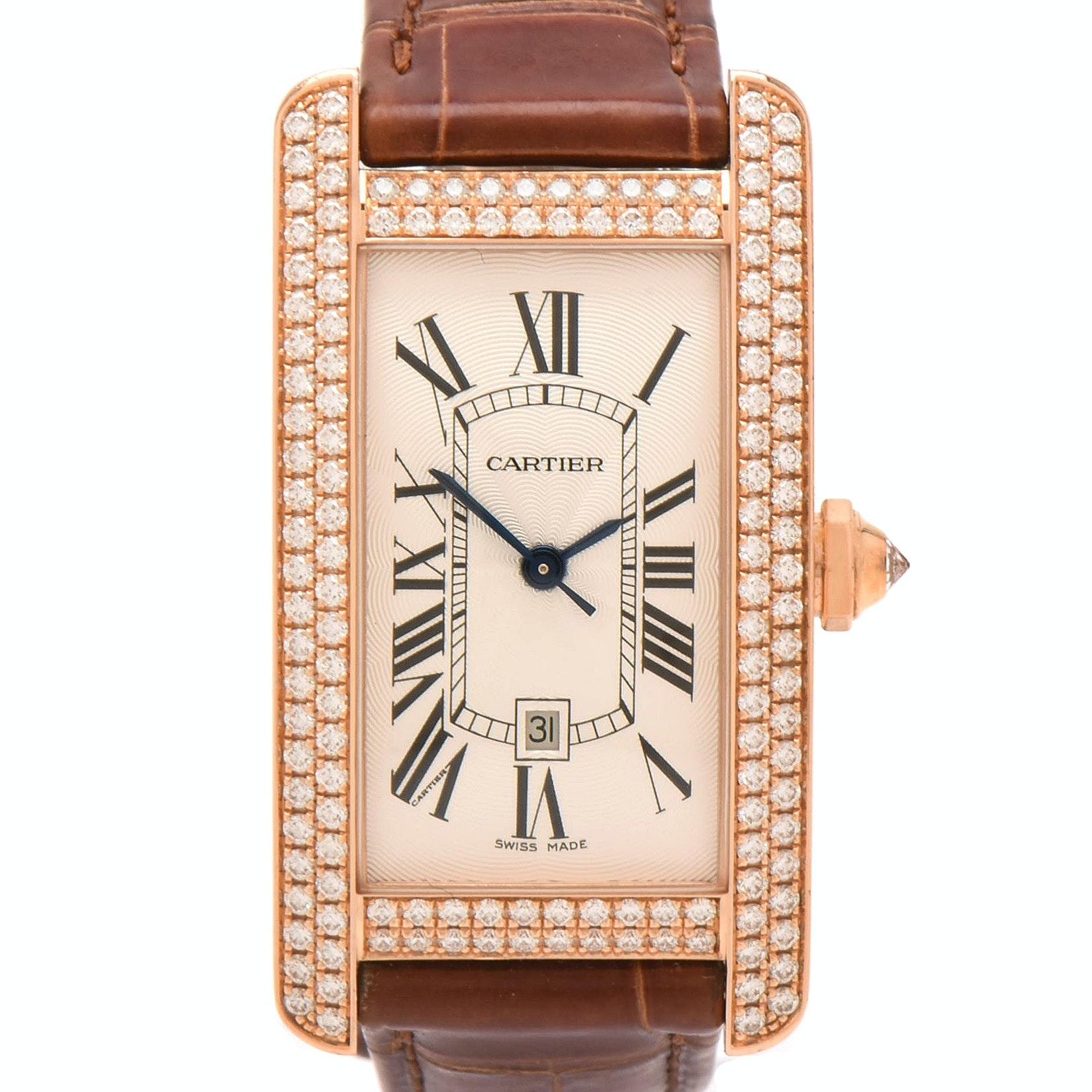 "Cartier ""Tank Américaine "" 18K Rose Gold, Diamond and Leather Wristwatch"