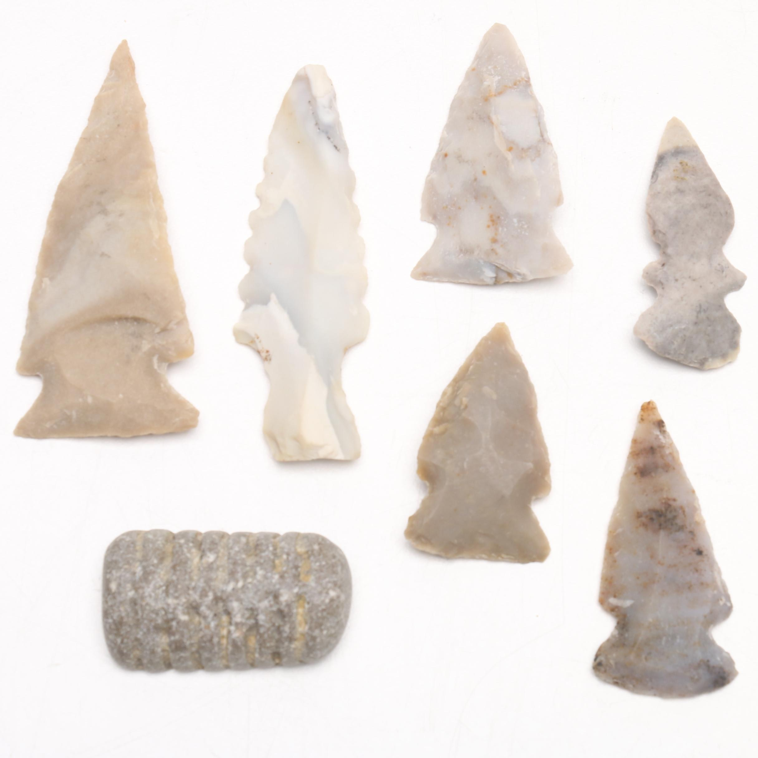 Reproduction Native American Style Projectile Points and Cephalopod Section