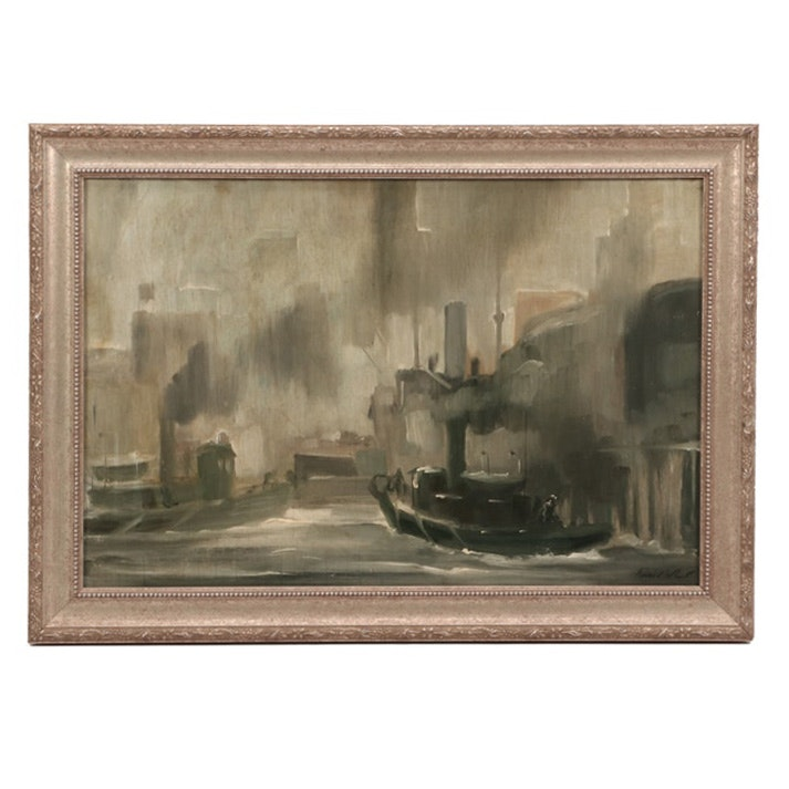 Richard Whorf Industrial Cityscape Oil Painting