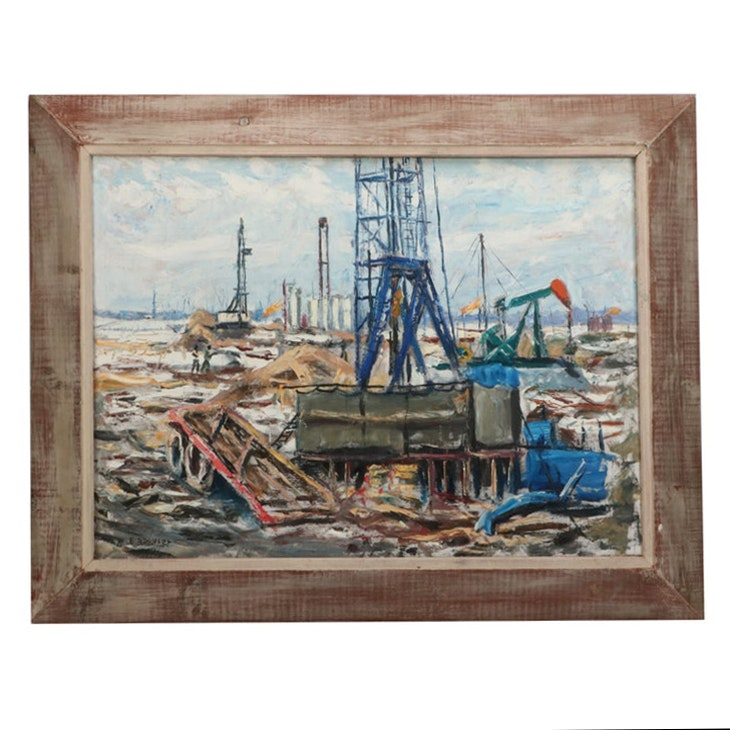 Emerson Burkhart Oil Painting of an Oil Rig