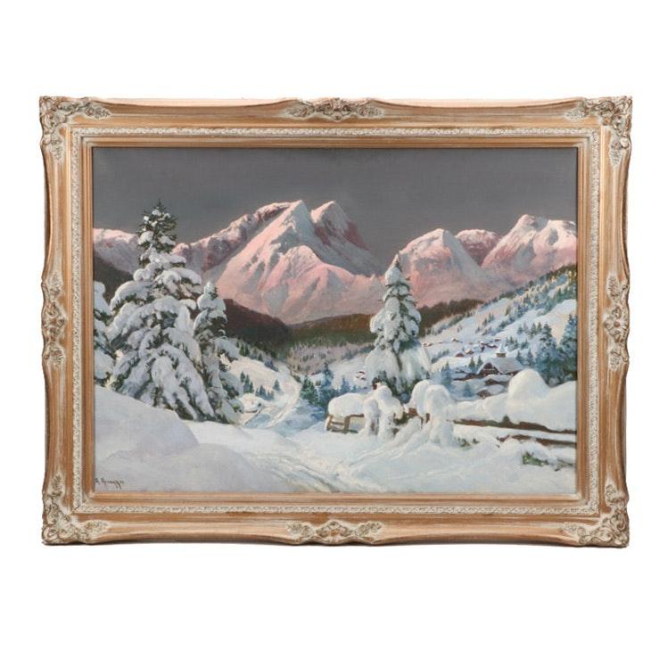 Alois Arnegger Alpine Landscape Oil Painting