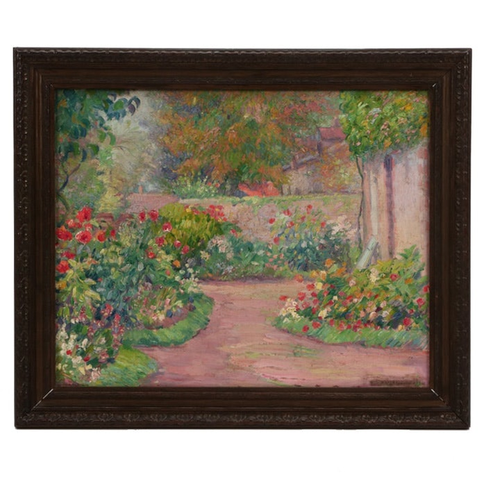 Abel George Warshawsky Impressionistic Oil Painting of a Garden