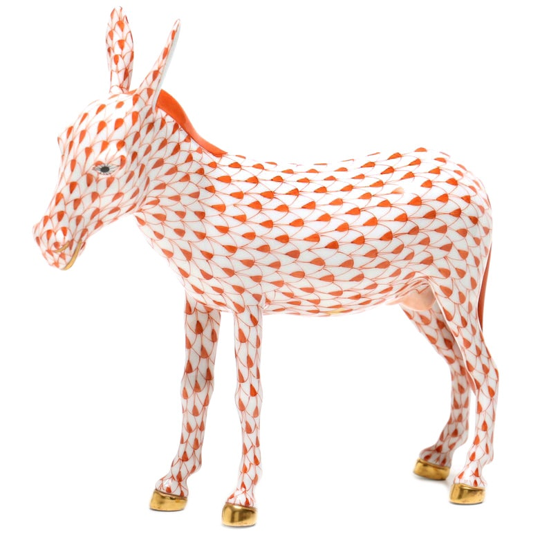 Herend Hungary Hand-Painted Donkey Figurine