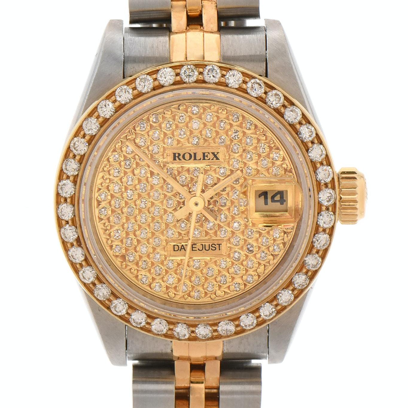 Rolex Datejust 18K Yellow Gold and Stainless Steel Diamond Wristwatch Circa 1993