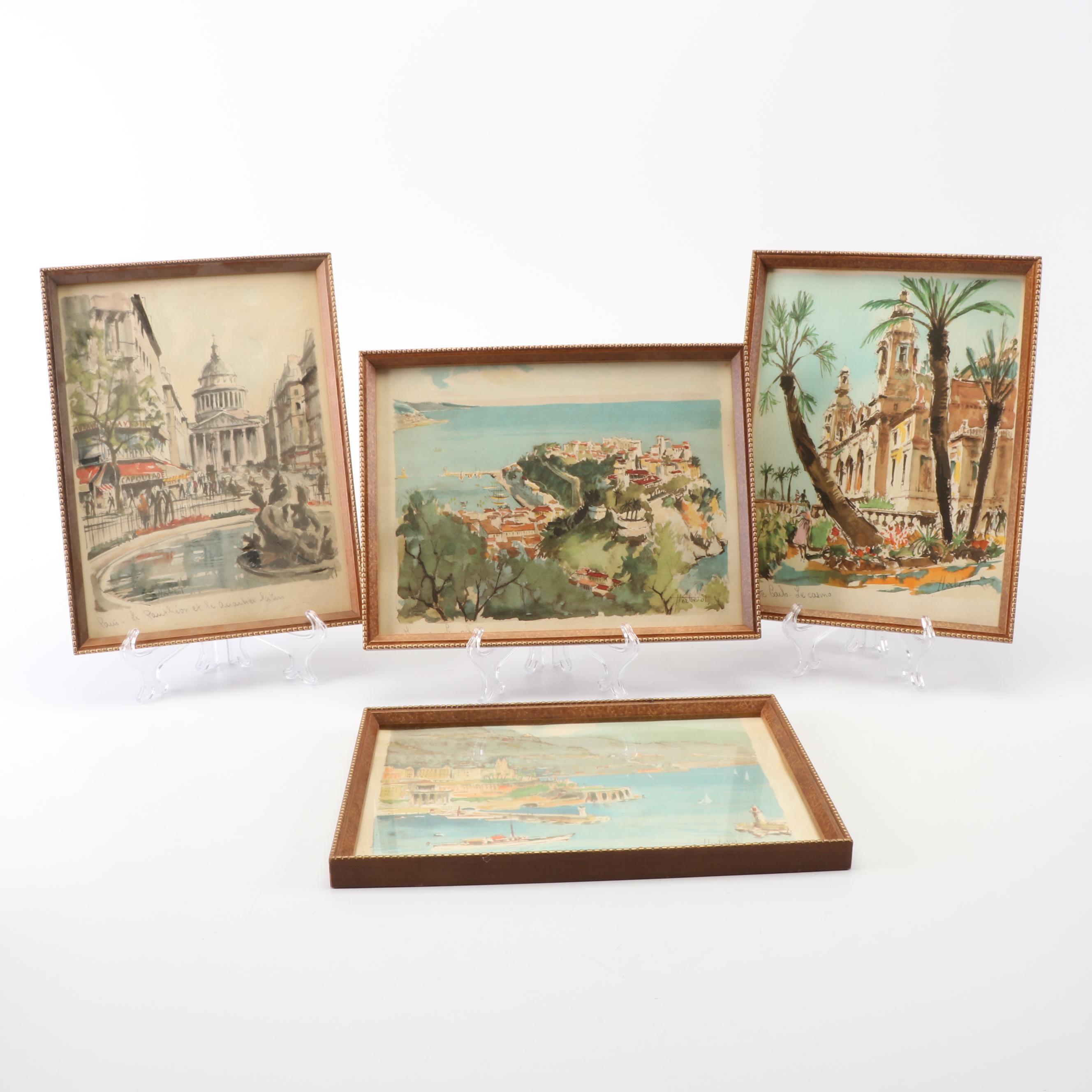 Franz Herbelot Color Lithographs of Paris