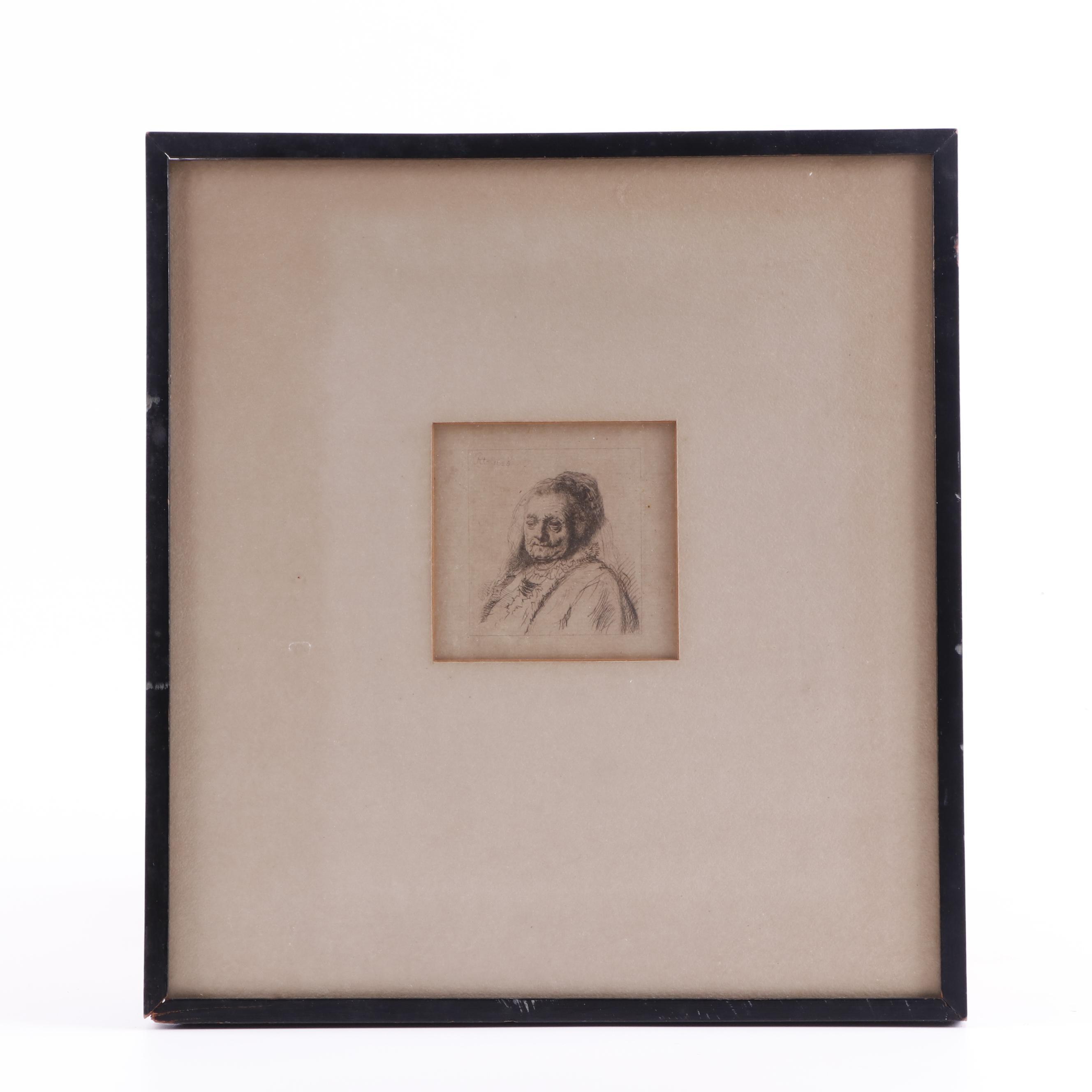 """Copy Etching after Rembrandt van Rijn """"The Artist's Mother"""""""