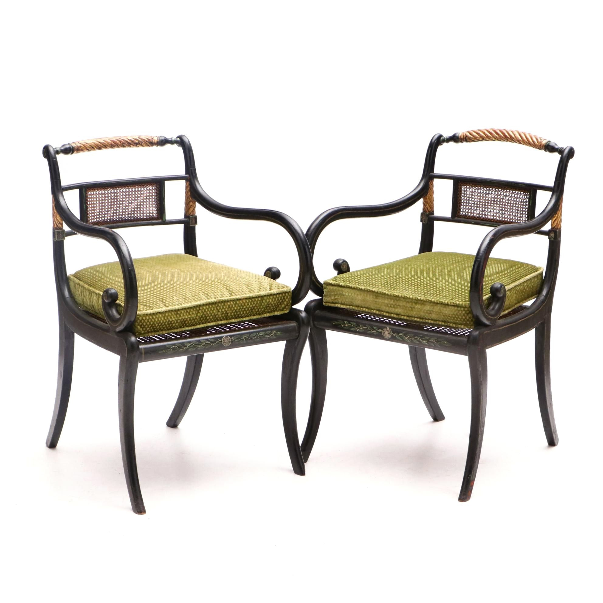 Pair of English Regency Arm Chairs