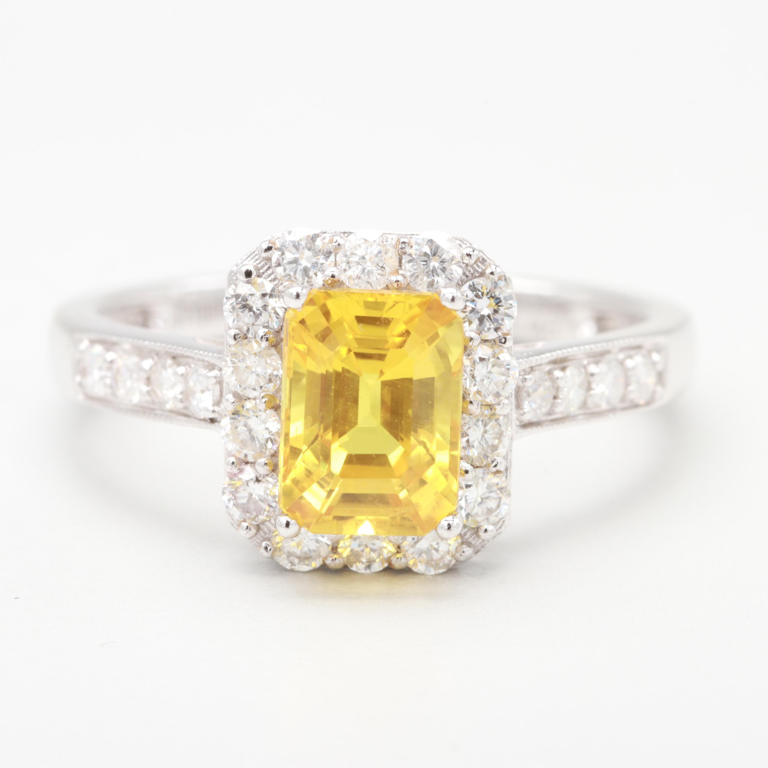 18K White Gold 1.53 CT Yellow Sapphire and Diamond Ring