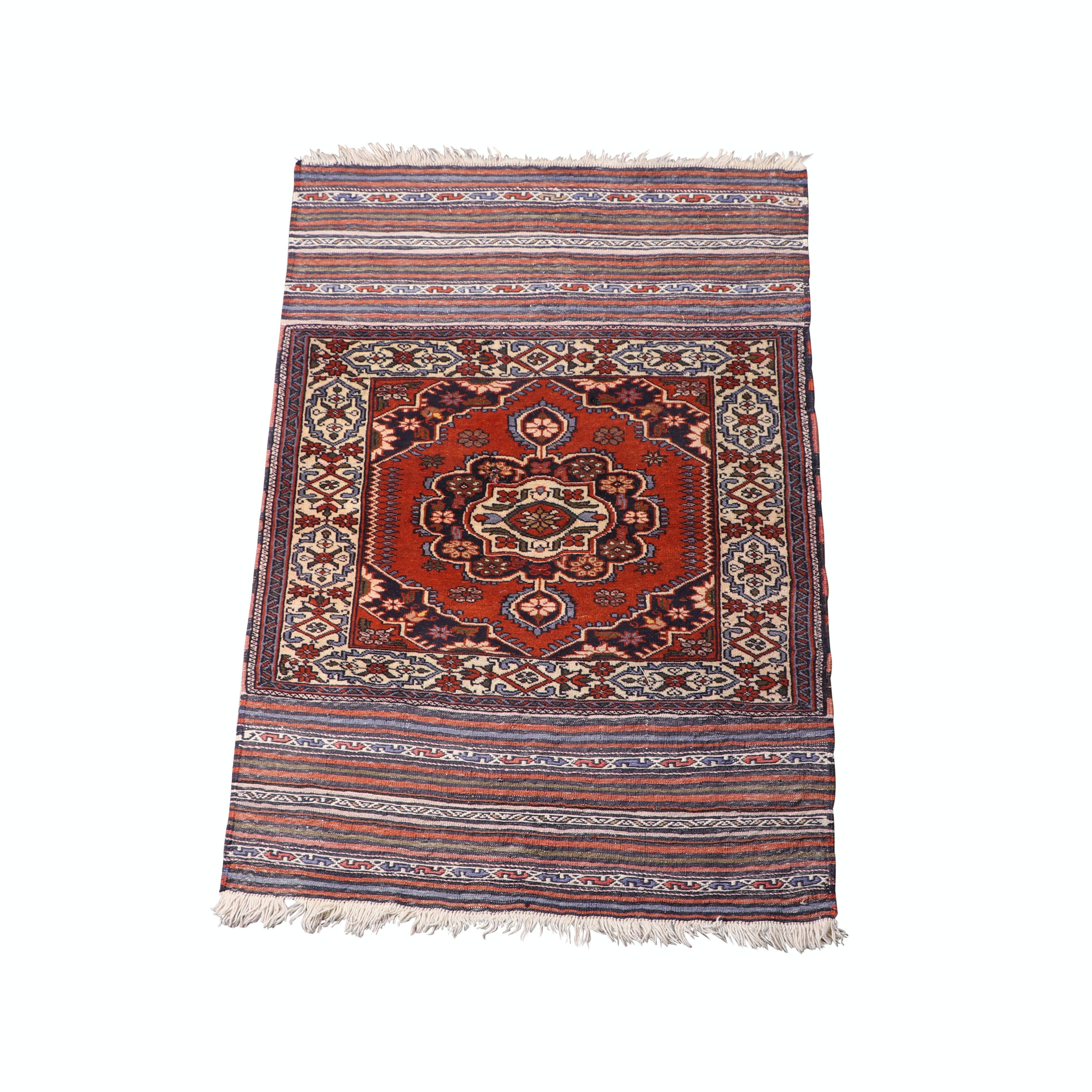 Hand-Knotted Anatolian Wool Rug with Embroidered Kilim Skirts