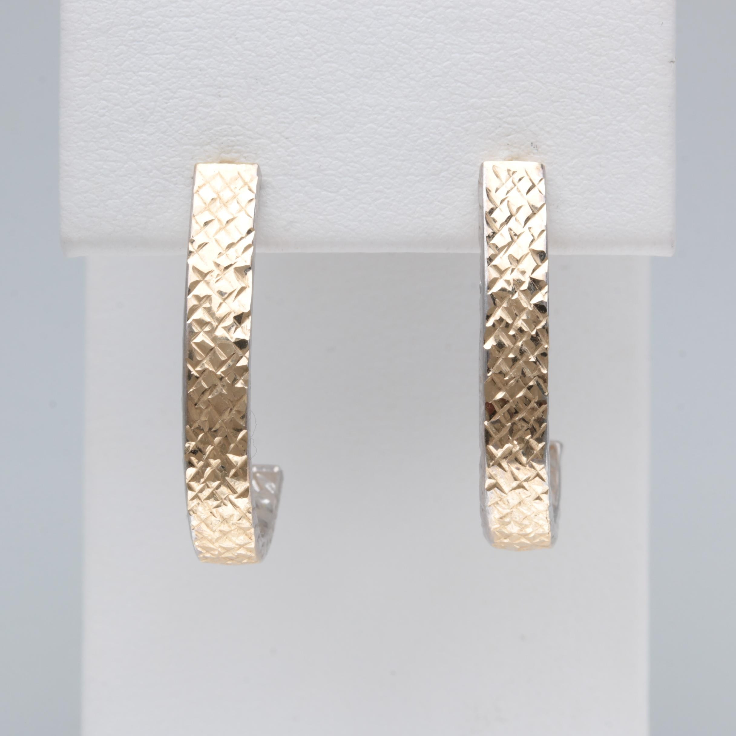 14K Yellow and White Gold Diamond Etched Drop Earrings